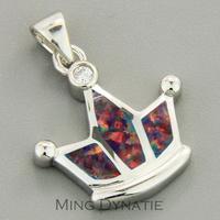 Cherry Red Fire Opal Silver Crown Fashion  Jewelry Women & Men Pendant OCP0084R Wholesale & Retail