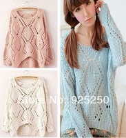 crochet sweater woman spring summer fashion 2014 korean style loose knitted sweater candy colors long sleeve cute pullover