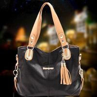 Sweet gentlewomen shoulder bag messenger bag handbag solid color tassel uncovered bags soft surface