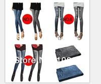 2014 HOT SALE FREE SHIPPING Fashion Womens Korean Popular Mid Waist Leggings Jeans Pants