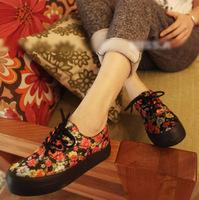 women's low black flower fashion flat paltform low canvas shoes