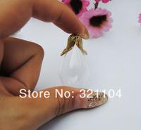 Free Shipping!!! Hot sale!!lot Tear Drop round bottom Glass Globe Pendants glass vase cover vials & anqtiue overgild cap set