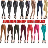 Free shipping 2014 New Fashion Sexy Shiny Metallic High Waist Black Stretchy Leather Leggings Pants