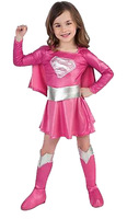 2014 New Suit 4-9 age hot  children pink superman girl dress,halloween cosplay party super hero costume with cape,boots,belt