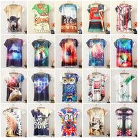 2014 New Fashion Vintage Spring Summer Digital Printing Girl Lady Women's Short Sleeve T-shirt Cotton Printed Tee T Shirts F&P