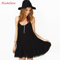 Richcoco fashion ruffle sweep pumping racerback sleeveless o-neck chiffon spaghetti strap one-piece dress d176