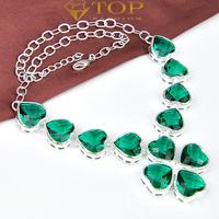 new 2014 925 silver handmade heart jewelry long necklace for women wedding N0520