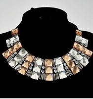 2014 Top Fasion Seconds Kill Newest Fashion False Collar Necklace Champagne The Women Chunky Choker Statement Jewelry Jnz07