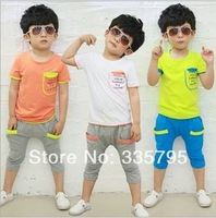 Wholesale 2014 boys suits letters sleeve pocket stitching cotton leisure suit children' clothing set boys baby set kids set