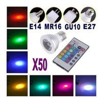 50pca Free Shipping! Energy Saving 5W E27 GU10 MR16 RGB E14 LED Bulb Lamp light Color changing IR Remote