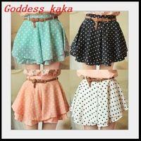 5 Colors Pleated Skirts Chiffon Womens Cute Mini Skirt Belt Included Summer Dress Short Skirt Free shipping D004