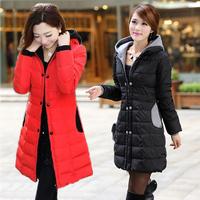 free shipping  down coat wadded jacket women's slim medium-long double breasted cap fashion 8001  down jacket