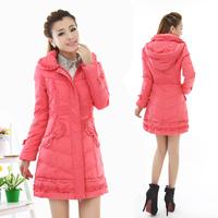 free shipping  winter women's sweet down coat with a hood medium-long down coat 2222  down jacket