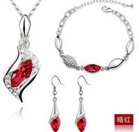 Fashion Popular rhinestone Angel eye Crystal Earrings Necklace Bracelet three set jewelry sets wholesale
