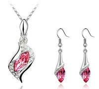 Fashion Popular rhinestone Angel eye Crystal Earrings Necklace set Leaf jewelry sets wholesale