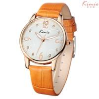 2014 New women dress watch fashion quartz wristwatch casual rhinestone watches genuine leather bracelet Kimio watch jewelly