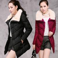 8093 winter outerwear wadded jacket female  medium-long fur collar cotton-padded jacket women's wadded jacket
