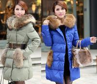 free shipping 6932  women's thickening pocket down coat fur collar large medium-long down cotton-padded jacket  down jacket