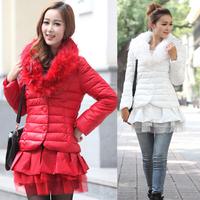 winter women's water washed leather PU medium-long down cotton-padded jacket wadded jacket plus size 1879