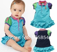 free shipping 2014 female child turn-down collar color block decoration short-sleeve dress baby dress