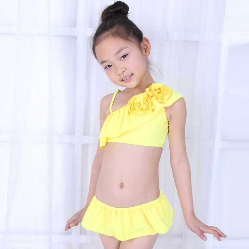 5f958a4c4d49d Single Shoulder Children\'s Swimsuit Two-pieces Pure Color Swimwear Single  Strap Skirt Beach Clothing