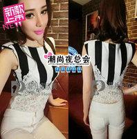 (Min order is $10) 3924 summer fashion all-match 2014 cutout mushroom perspectivity stripe lace slim vest t-shirt