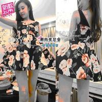 3886 summer 2014 sleeveless fashion sexy flower graphic patterns high waist slim waist mushroom racerback one-piece dress