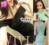 (Min order is $10) 3899 summer fashion sexy slit neckline cross tie slim hip slim one-piece dress