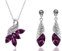Fashion Popular Full rhinestone Angel Crystal Earrings Necklace Peacock set Leaf jewelry sets wholesale