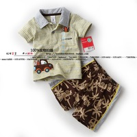 Children's summer 2014  baby suit T-shirt Boys Baby short sleeved blouse short pants baby boy summer sets
