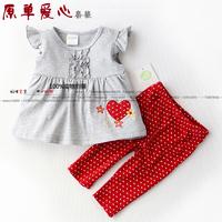 Summer infant children's clothing skirt t-shirt love legging set