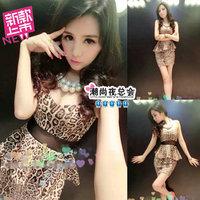 (Min order is $10) 3879 summer 2014 sexy fashion leopard print tube top slim hip cutout slim waist one-piece dress