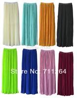 New Women Chiffon pleated Maxi Long Floor Full Length 95cm Solid  Skirt