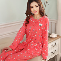 2014 spring and autumn sleepwear Women knitted cotton long-sleeve lounge open front plus size sets at home service