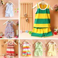 free shipping 2014 summer  baby infant child  clothing children sports clothes vest sleeveless shorts set