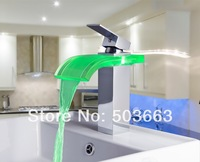 Construction Real Estate Luxury LED Water Power Waterfall Chrome Brass Single Handle Bathroom Sink MF-1027 Mixer Tap Faucet