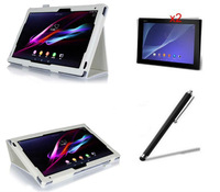 Hot-Selling Folio Stand PU Leather Case Cover+2xFilm+Stylus For Sony Xperia Tablet Z2 10.1' Tablet PC,free shipping !!!