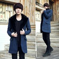 2014 New Arrival Korea Style Thicken Cotton Mens Windbreaker Long coat fur collar woolen coat Korean Slim woolen coat