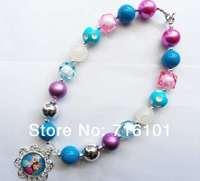 2PCS/Lot Frozen Elsa&Anna chunky bubblegum bead necklace,bubble gum necklace for kids girl jewelry!