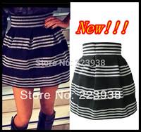New 2014 Winter Women skirts Fashion Brand Silver Stripe Elastic Waist High Quality Ball Gown Short Skirt F0413