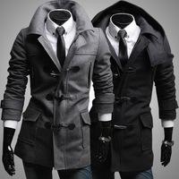 2014 New Arrival Korea Style Thicken Cotton Mens Windbreaker Detachable cap woolen trench coat horn button wool coat Slim