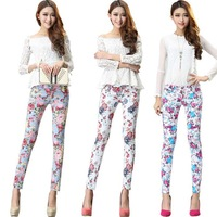 2014 Summer women flowers print denim pants ladies trousers slim fit Skinny pencil stretch jeans legging 88802# Free shipping!
