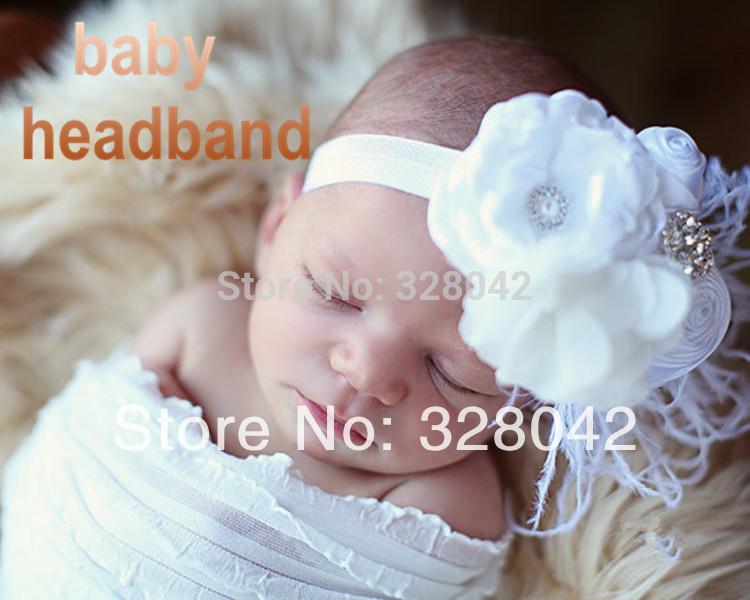 Min order 1 pcs tulle fabric peony flower headband baby girl DIY flower bling rhinestone headwear kids hair accessories(China (Mainland))