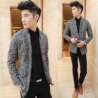 2014 New Arrival Korea Style Thicken Cotton Mens Windbreaker Tide single-breasted coat collar wool coat Slim
