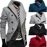 2014 New Arrival Korea Style Thicken Cotton Mens Windbreaker Oblique placket lapel single-breasted wool coat large  coat