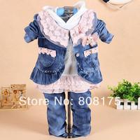 2 female child spring 2014 denim outerwear children set piece set 1 - 3 years old spring