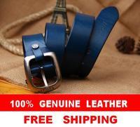 Genuine Leather Men's Brand Belt Designer Belts For Men High Quality 2014 Fashion Jeans Blue Wide Straps Cinto Ceinture MBT0167