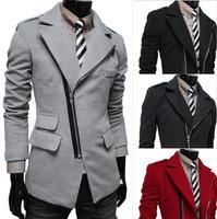 2014 New Arrival Korea Style Thicken Cotton Mens Windbreaker Irregular diagonal zipper pocket wool coat lapel coat