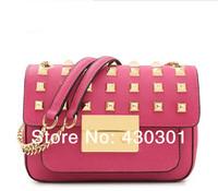 2014 women's fahion handbags rivet shoulder bag designer famous brand genuine leather day clutches girls small chain cross  bag