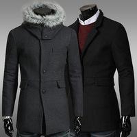 2014 New Arrival Korea Style Thicken Cotton Mens Windbreaker Single-breasted woolen coat tide business casual coat
